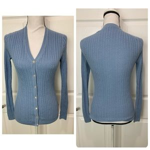 BROOKS BROTHERS Blue Silk Cashmere Cardigan Small